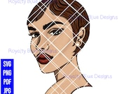 JINA 5, auburn hair, freckles svg, png, woman with short cut, beautiful skin, red lips beauty, pearl earring, ginger girl, digital download