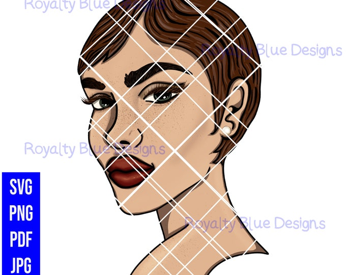 JINA 5, auburn hair, freckles svg, png, digital download