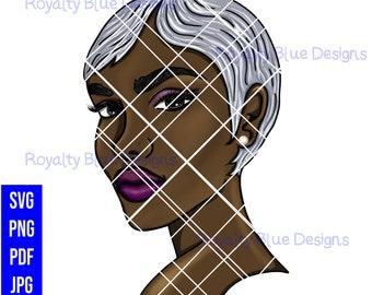 JINA 2, gray hair, svg, png, black woman, silver fox gray hair, beautiful skin, wavy short hair, black girl magic, earring, cut digital
