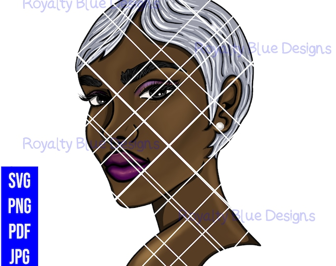 JINA 2, gray hair, svg, png, black woman, silver fox gray hair, beautiful skin, wavy short hair, black girl magic, earring, cut digital