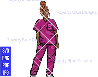 LOCCED UP Nurse, PINK Scrubs, locs, svg, png, pdf, Registered Nurse, Caregiver rn, lvn, Nurses Rock, Natural Hair, hospital, cna, Medical