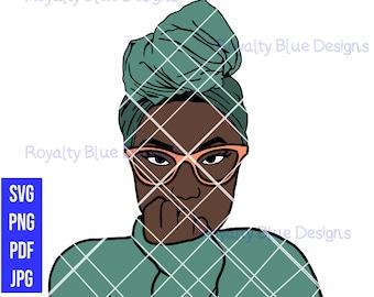 AJ HEADWRAP, png, svg, black woman with glasses ,head dress, brown skin girl, pretty girls layered vector, cricut, digital download