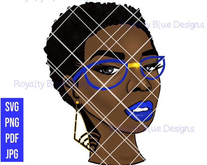 RISSA,svg, png, pdf, black woman, short afro twa, glasses, earrings, customize lipstick, glasses colors, gold, water slide, digital files