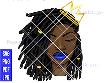 PRINCESS Locs, svg, pdf, png, crown, black women, digital download, instant