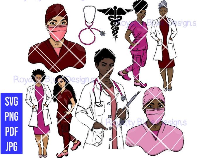 MVPs (Medically Vital Professionals) PINK 9 BUNDLE, Doctor, RN, Surgeon, Nurses, Stethoscope, png, pdf, svg, hospital, afro, black women