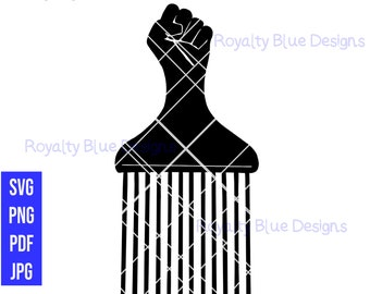 FIST AFRO PICK, black comb, svg, png, pdf, best, digital download, instant