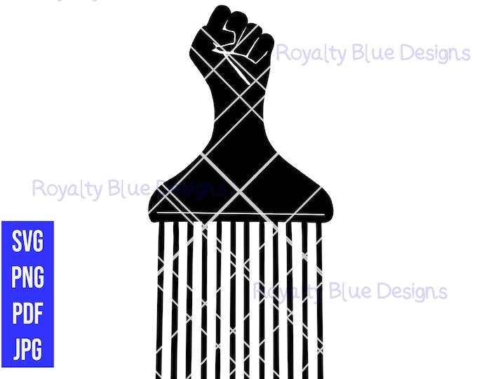 FIST AFRO PICK, black comb, svg, png, pdf, best, digital download, instant