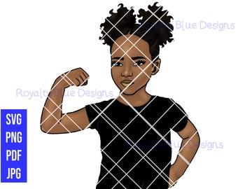 Rai Strong BLACK, svg, png, pdf, jpg, Customize Skin, Shirt, Arm Up, Cute Kid, Afro Puffs, Girl Power, printable, instant digital downloads