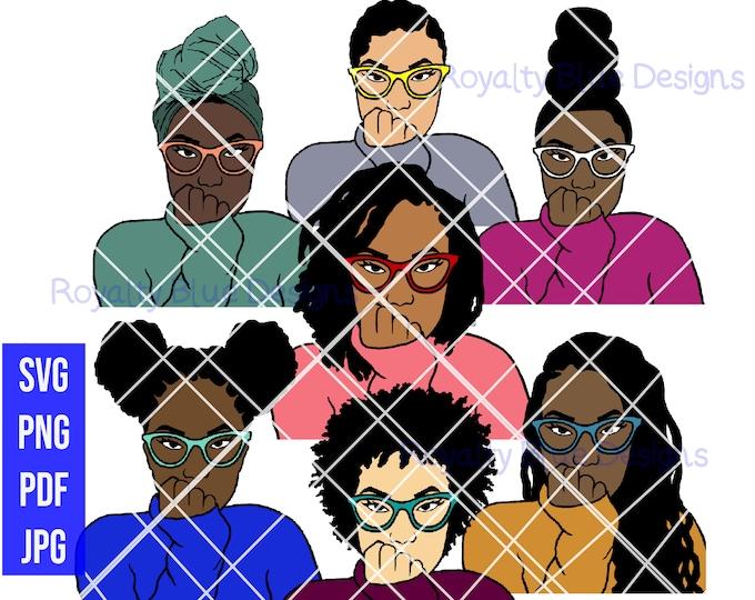ANNE JANAE 7 BUNDLE, svg, png, glasses, locs, braids buns, headwrap, short afro, sexy black women, afrocentric girl, waterslide, digital