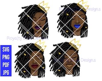 PRINCESS LOCS BUNDLE 4, svg, pdf, png, crown, black women, digital download
