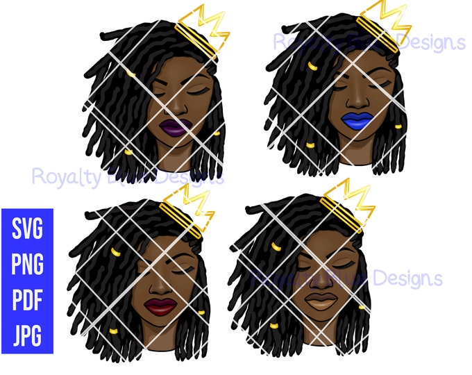 PRINCESS LOCS BUNDLE 4, svg, pdf, png, crown, black women, digital download