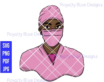 SURGEON 2 MVPs, Pink Scrubs, svg, png, Face Mask, Nurse, Doctor, Anesthesiologist, hospital, Medical Professional, RN, black women, vector
