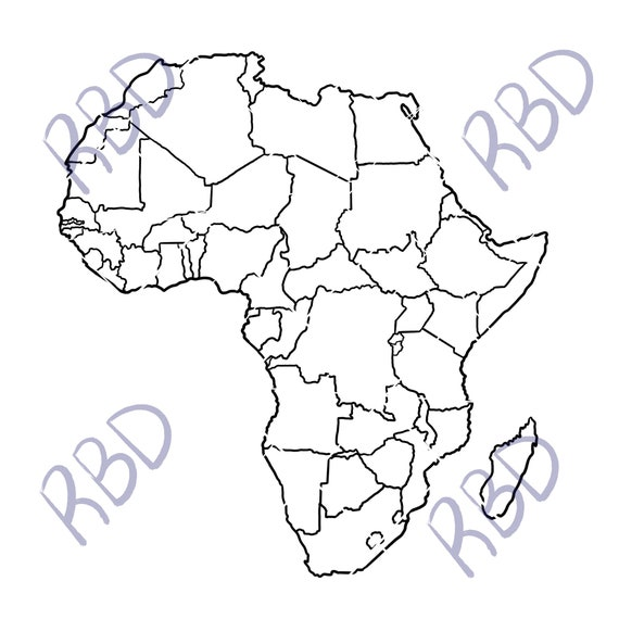 Outline Africa Geographical Map.Map Of Africa Continent Png Pdf Svg Black Outline African Geography Countries Printable World Atlas Best Instant Digital Download