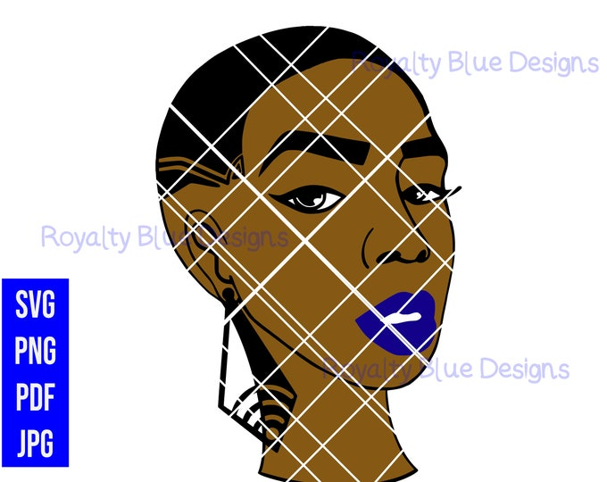 SPARKLE, svg, png, pdf, black woman with short hair cut, big earrings, bald, african american, pretty women, beautiful, royalty blue, lips