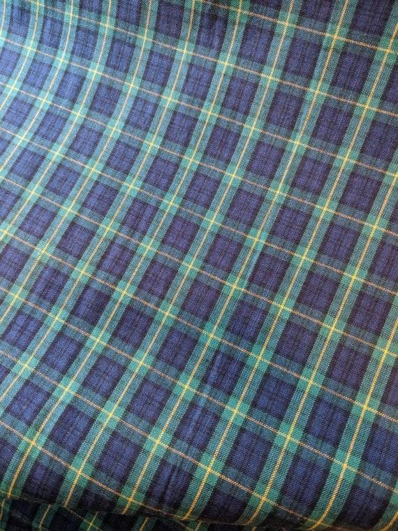 "Blue Tartan 112cm wide Green 100/% Cotton Fabric by the metre 44/"""