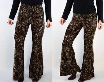 7a132b8f98f3 leopard print, animal print velvet bell bottoms, flares, 70's, 60's, high  waist, hippy, boho, festival
