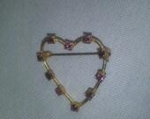 Vintage Gold Heart February Birthstone Pin Amethyst