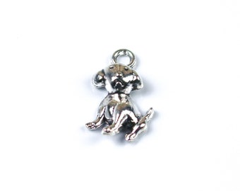 10 Anhänger Charms Hund Farbe antiksilber 26x18mm #S112