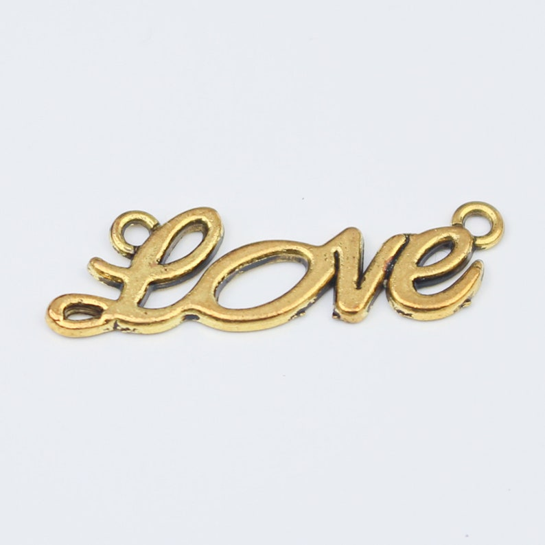Gold Love Connector Charms KJCHARMS 00122