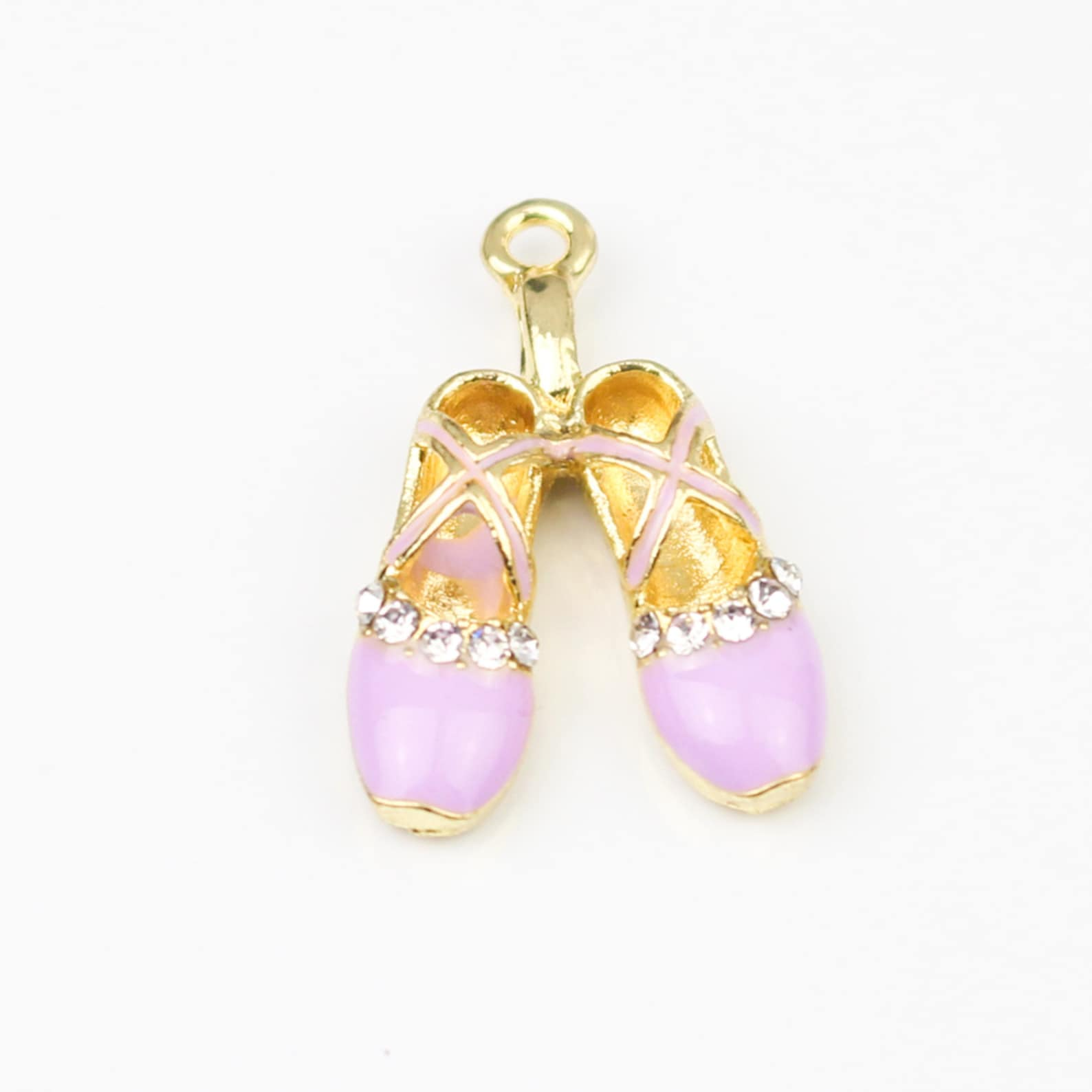 kjcharms | 2 rhinestone purple ballet shoes - 00082
