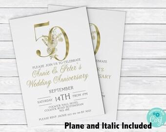 50th Anniversary Invitation, 50th Wedding Anniversary - Printable Invite - Instant Download
