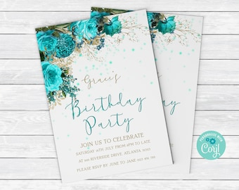 Floral Birthday Invitation With Turquoise Vintage Flower Editable Instant Download Printable