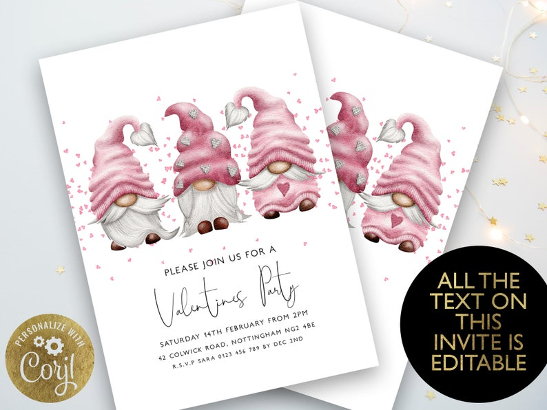 Valentines Gnomes Invitation Valentines Party Invite Pink image 0