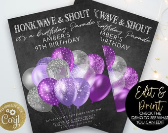 Drive By Birthday Parade Purple Invitation Drive By Balloon Editable Party Invite Drive Through Honk Wave Car Parade Quarantine Party