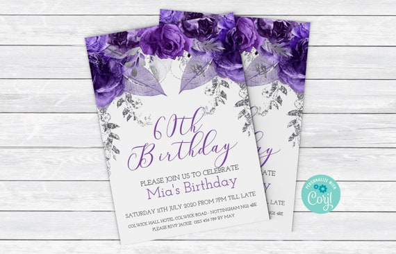 60th Birthday Invitation In Purple And Silver Flowers Birthday Invitation Floral Birthday Invites Card 0056 Instant Download Printable