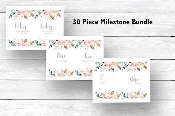 Boho Milestone Cards Printable 30 Boho Milestone Cards  Monthly Photo Prop Cards  INSTANT DOWNLOAD Boho Feathers