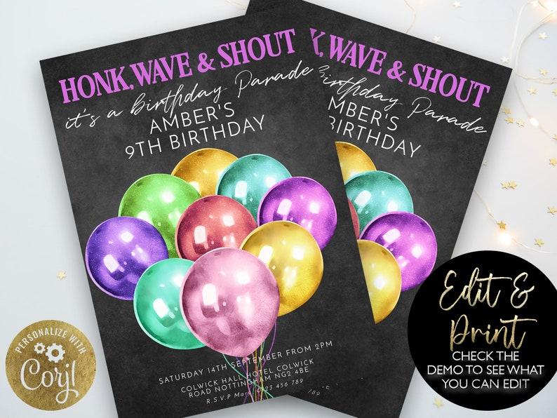 Drive By Birthday Parade Invitation Rainbow Drive By Balloon image 0