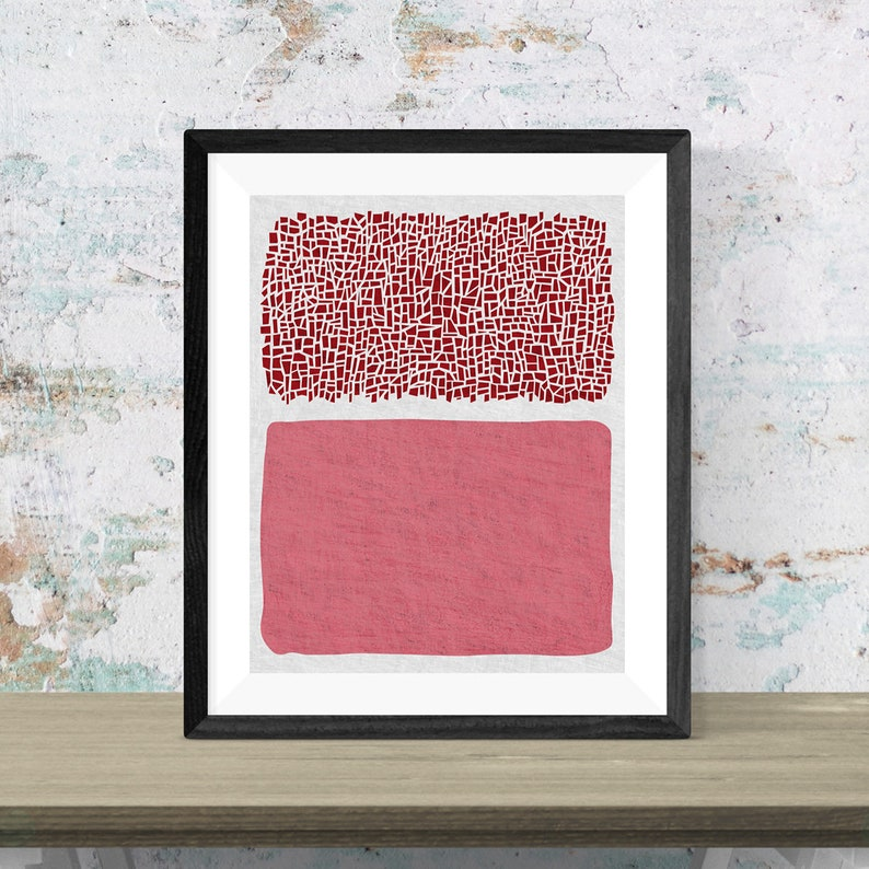 Pink abstract art poster printed on canvas. Modern minimal image 0