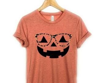 Jack O lantern Leopard Glasses , Pumpkin Shirt, Jack-O-Lantern, Halloween Shirt, Halloween T-shirt, Womens Tee, Pumpkin Face