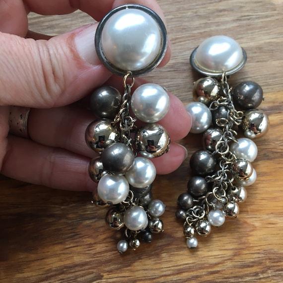 Grey Pearl Cascade Earrings