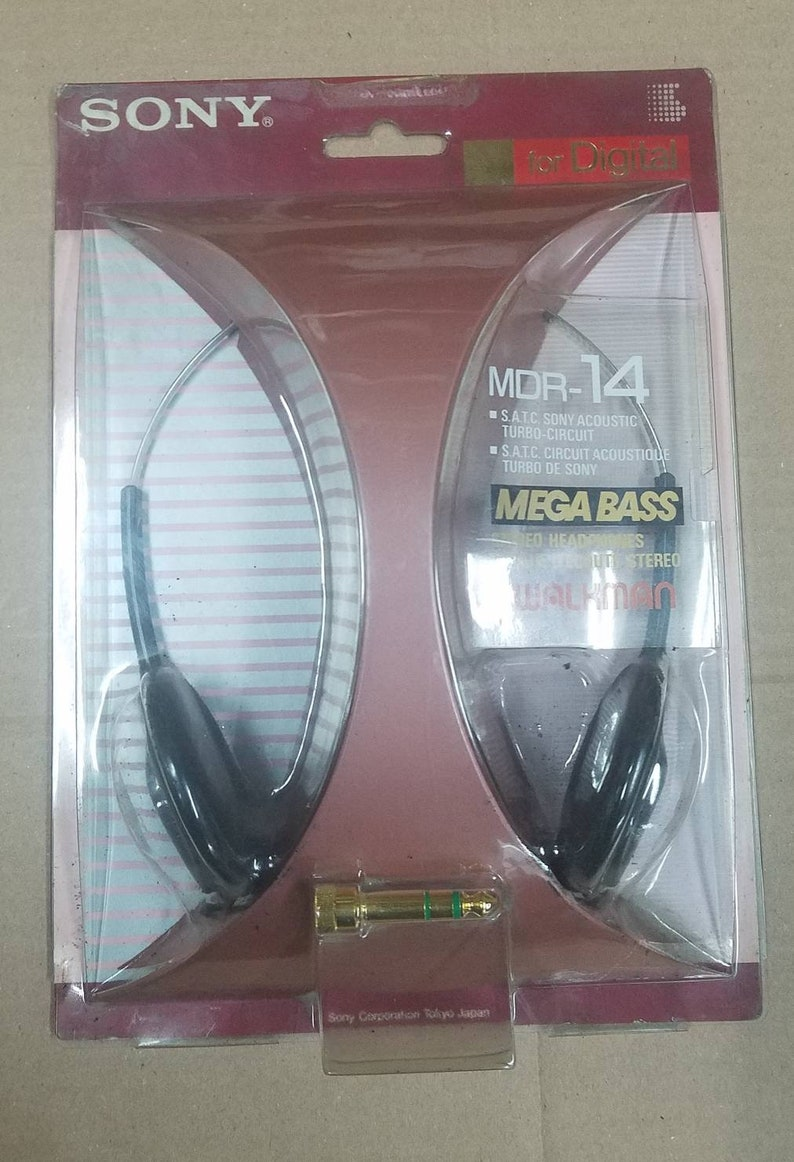 Japan Nos Sony Mdr-14 Stereo Headphones Mega Bass for Walkman from 1992