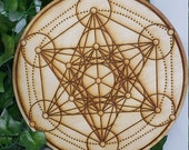 Metatron's Cube - Crystal Recharging - Sacred Geometry - Large Crystal Grid - Wooden Crystal Wall Decor - Beautiful Design - Engraved