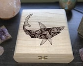 Shark Engraved Wooden Chest - Beautiful Crystal Chest - Personalized Trinket Box - Keepsake Gift Box - Limited Edition Adorable Treasure