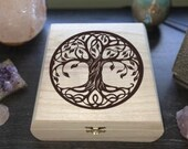 Tree of Life Engraved Wooden Chest - Beautiful Crystal Chest - Personalized Trinket Box - Keepsake Gift Box - Limited Edition  Treasure