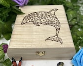 Dolphin Engraved Wooden Chest - Beautiful Crystal Chest - Personalized Trinket Box - Keepsakes Gift Box - Limited Edition Adorable Treasure