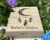 Bohemian Moon Engraved Wooden Chest - Beautiful Crystal Chest - Personalized Trinket Box - Keepsake Gift Box - Limited Adorable Treasure