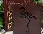 Flamingo Custom Journal - Beautiful Leather Diary Journal Custom Designed Renaissance Book Vintage Notepad  Dream Journal - Unlined Engrave