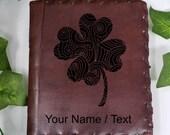 Clover Custom Journal - Beautiful Leather Diary Journal Custom Designed Renaissance Book Vintage Notepad  Dream Journal - Unlined Engrave