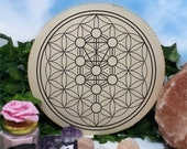 Flower of Life Tree of Life - Crystal Recharging - Sacred Geometry - Crystal Grid - Wooden Crystal  - Beautiful Design - Hand Carved - Large