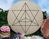 Merkaba Light - Crystal Recharging - Sacred Geometry - Crystal Grid - Wooden Crystal Wall Decor - Beautiful Design - Hand Carved - Large