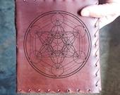Metatron Cube Geometric Sacred Custom Journal - Beautiful Leather Diary Custom Designed Renaissance Book Vintage Notepad  Dream Journal
