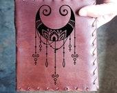 Moon Charm Custom Journal - Beautiful Leather Diary Journal Custom Designed Renaissance Book Vintage Notepad  Dream Journal - Unlined