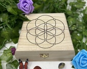 Sacred Engraved Wooden Chest - Beautiful Crystal Chest - Personalized Trinket Box - Keepsake Gift Box - Limited Edition Adorable Treasure