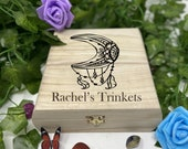 Moon Engraved Wooden Chest - Beautiful Crystal Chest - Personalized Trinket Box - Keepsakes - Gift Box - Limited Edition Adorable Treasure