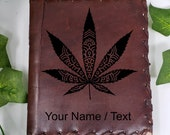 Cannabis Custom Journal - Beautiful Leather Diary Journal Custom Designed Renaissance Book Vintage Notepad  Dream Journal - Unlined Engrave