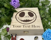 Jack Nightmare Engraved Wooden Chest - Beautiful Crystal Chest - Personalized Trinket Box - Keepsake Gift Box - Limited Adorable Treasure